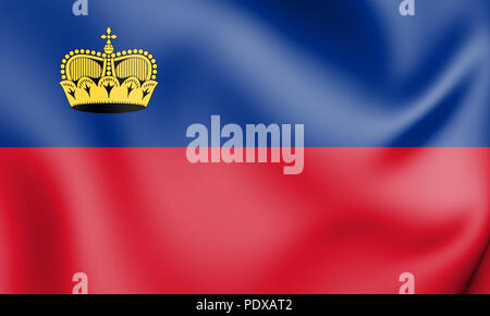 3D Flag of the Liechtenstein. 3D Illustration. - Stock Photo