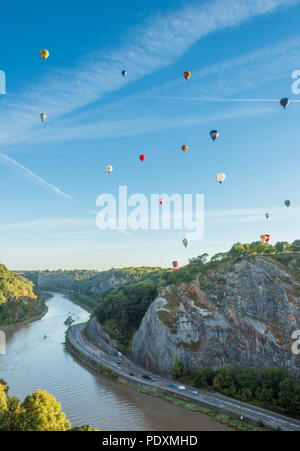 Bristol, UK, 11 August 2018. 108 hot air balloons take to the skies over Bristol in the first and probably last mass ascent of the 40th anual Bristol Balloon Fiesta. Carolyn Eaton/ Alamy News Live - Stock Photo