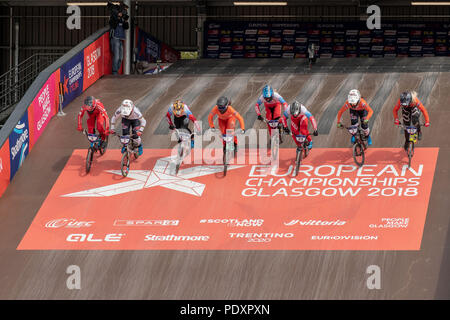 Glasgow, UK, August  11 2018; European Championships BMX Cycling   credit steven scott taylor / alamy live news - Stock Photo