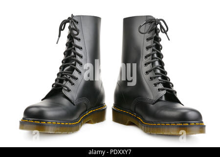 New black boots for army and travel isolated on white background. - Stock Photo