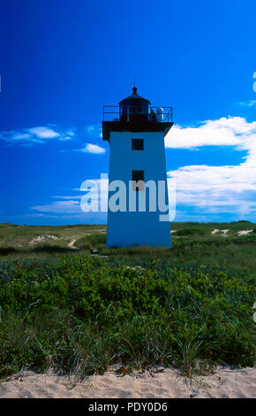 The iconic Wood End Light on the tip of Cape Cod near Provincetown, Massachusetts - Stock Photo