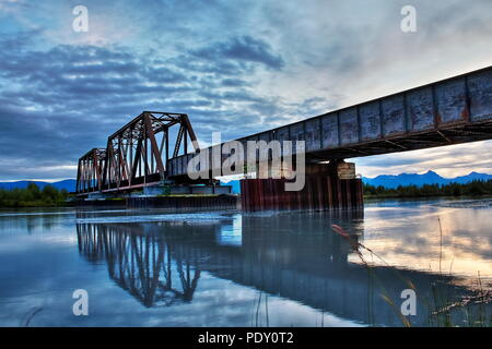 Beautiful Bridge HDR, Nighttime over the matanuska river. Alaska Railroad, Glen Highway - Stock Photo