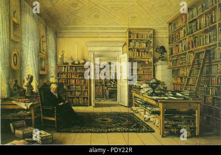 Arbeitszimmer des Alexander von Humboldt in Berlin, Oranienburger Str. 67 (Gemälde). - Stock Photo