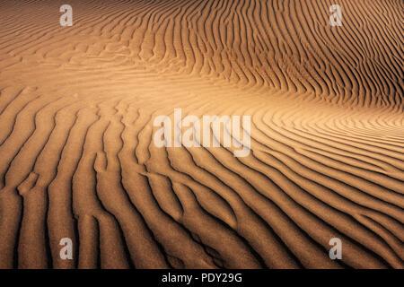 Dunes of Maspalomas, Dunas de Maspalomas, structures in the sand, nature reserve, Gran Canaria, Canary Islands, Spain - Stock Photo