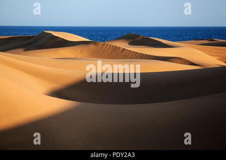 Dune landscape, dunes of Maspalomas, Dunas de Maspalomas, nature reserve, Gran Canaria, Canary Islands, Spain - Stock Photo