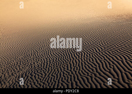 Structures in the sand, dunes of Maspalomas, Dunas de Maspalomas, structures in the sand, nature reserve, Gran Canaria - Stock Photo