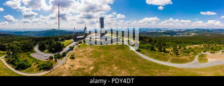 Panorama, Transmission tower of the Hessian Broadcasting Company and observation tower, Großer Feldberg - Stock Photo
