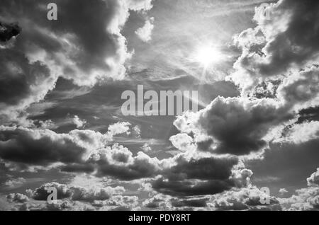 Black and white picture of a beautiful cloudscape. - Stock Photo