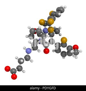 Elagolix drug molecule (gonadotropin-releasing hormone receptor antagonist). 3D rendering. Atoms are represented as spheres with conventional colour-coding: hydrogen (white), carbon (grey), nitrogen (blue), oxygen (red), fluorine (gold). - Stock Photo