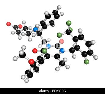 Elagolix drug molecule (gonadotropin-releasing hormone receptor antagonist). 3D rendering. Atoms are represented as spheres with conventional colour-coding: hydrogen (white), carbon (black), nitrogen (blue), oxygen (red), fluorine (light green). - Stock Photo