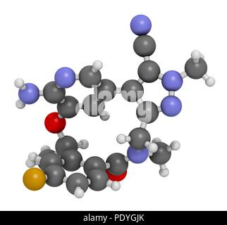 Lorlatinib cancer drug molecule. 3D rendering. Atoms are represented as spheres with conventional colour-coding: hydrogen (white), carbon (grey), nitrogen (blue), oxygen (red), fluorine (gold). - Stock Photo