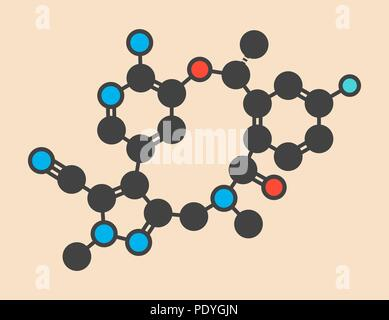 Lorlatinib cancer drug molecule. Stylized skeletal formula (chemical structure): Atoms are shown as colour-coded circles: hydrogen (hidden), carbon (grey), nitrogen (blue), oxygen (red), fluorine (cyan). - Stock Photo