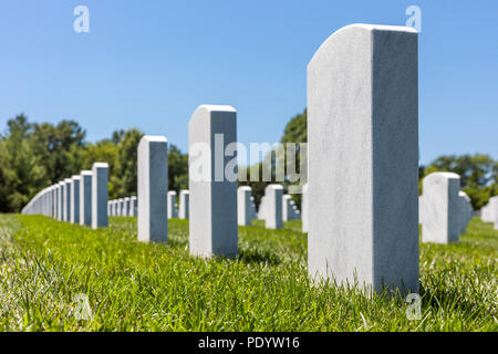 View of headstones in Camp Butler National Cemetery, American military burial place - Stock Photo