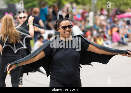 Cleveland, Ohio, USA - June 9, 2018 women in vampire outfits At the abstract art festival Parade The Circle - Stock Photo