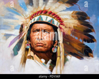 Painting of a Native American Indian Chief in full headdress - Stock Photo