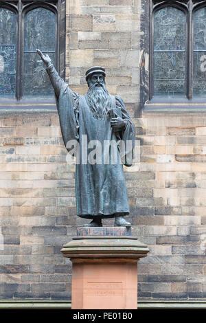 Statue John Knox near Edinburgh University, Scotland - Stock Photo