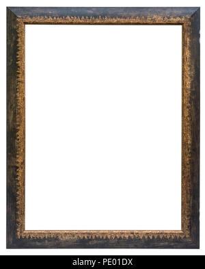 Eleganter und schicker Bilderrahmen in schwarz, mit Goldrand, im Hochformat Stock Photo