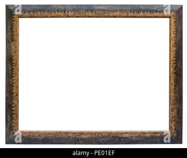 Eleganter und schicker Bilderrahmen in schwarz, mit Goldrand, im Querformat Stock Photo
