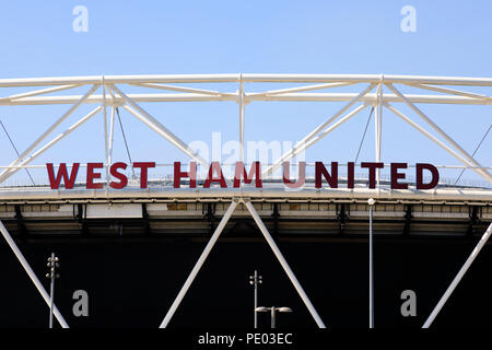 The London Stadium, home to West Ham United football club, Queen Elizabeth Olympic Park, Stratford, London, England - Stock Photo