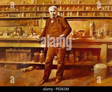 Thomas Alva Edison (1847-1931). American inventor and businessman. Portrait. Watercolor by the Spanish illustrator Francisco Fonollosa (late 20th century). - Stock Photo
