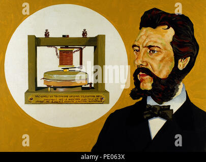 Alexander Graham Bell (1847-1922). Scottish engineer and inventor. Portrait. Watercolor by the Spanish illustrator Francisco Fonollosa (late 20th century). - Stock Photo