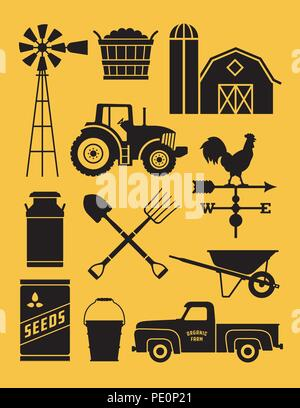 Set of 11 detailed farm icon illustrations. Realistic and highly detailed silhouette illustrations of farm tools, buildings and vehicles. - Stock Photo