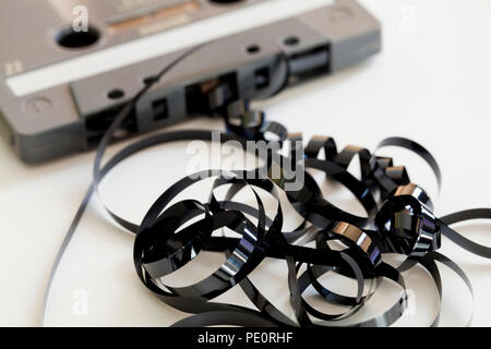 Compact audio cassette tape (aka compact cassette, music cassette) - USA - Stock Photo