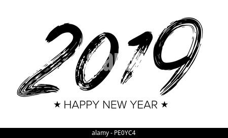 2019 Sign Vector. Grunge Calligraphy. Happy New Year. Brush. Design Element. Black Numbers Isolated On White Background Illustration - Stock Photo