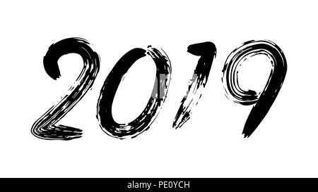 2019 Sign Vector. Grunge Calligraphy. Happy New Year. Flyer, Poster, Card, Brochure Design. Black Numbers Isolated On White Background Illustration - Stock Photo