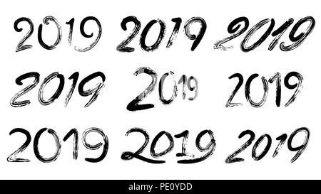 2019 Sign Set Vector. Grunge Calligraphy. Happy New Year. Vintage Brush Lettering. Flyer, Poster, Card, Brochure Design. Black Numbers Isolated On White Background Illustration - Stock Photo