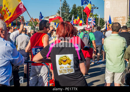 Bucharest, Romania - August 10, 2018: Anti-government protesters in Bucharest, Romania. - Stock Photo