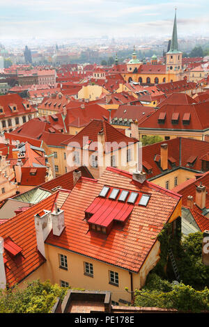 Beautiful cityscape with famous red roof tops of Mala Strana district in Prague, Czech Republic - Stock Photo