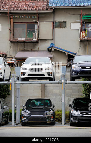 Parking with elevator for cars. Kyoto, Japan, Asia Stock ...
