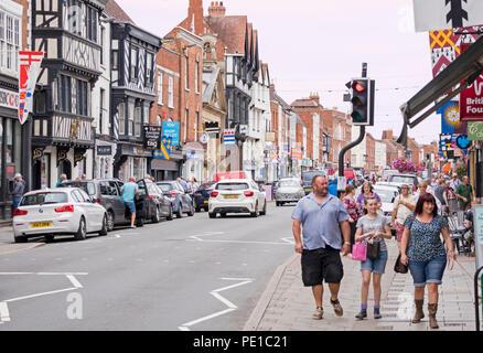 Historic buildings in High street, Tewkesbury, Gloucestershire, England, UK - Stock Photo
