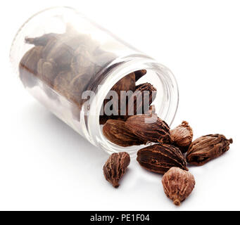 Black cardamom in a glass jar over white background - Stock Photo
