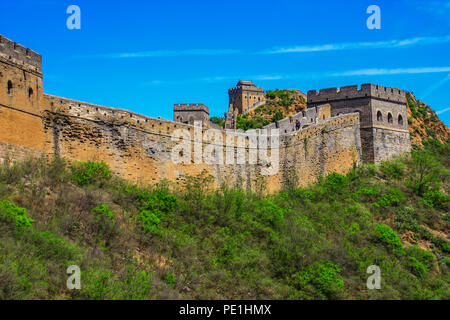Jinshanling, China - probably the most famous landmark in China, the Great Wall runs for about 9.000 km - Stock Photo