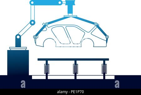 body of car on the assembly line the conveyor at the factory - Stock Photo