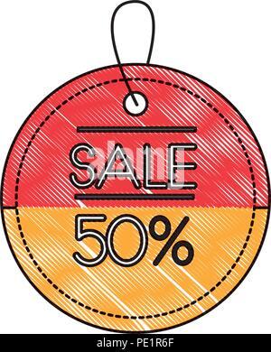 ecommerce market sale 50 percent label - Stock Photo