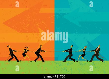 Tug of War. Business people competing for market share in a tug-of-war battle. - Stock Photo