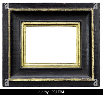 Eleganter und schicker Bilderrahmen in schwarz, mit Goldrand, im Querformat, aus dem Biedermeier Stock Photo