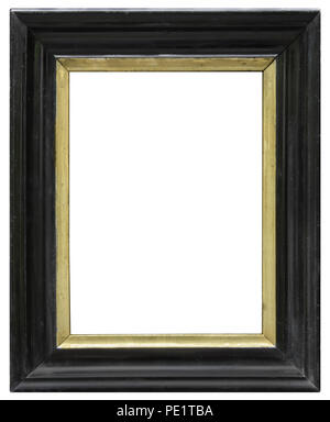 Eleganter und schicker Bilderrahmen in schwarz, mit Goldrand, im Hochformat, aus dem Biedermeier Stock Photo