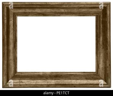 Goldener Bilderrahmen mit tollem Profil und brauner Struktur für elegante Gutscheine oder als prächtige Umrandung von Bildern Stock Photo
