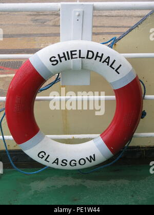 Close-up of a lifebelt on the SS Shieldhall on a lunchtime cruise in Southampton Waters; the largest working steam ship in Britain - Stock Photo