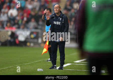 Swansea, Wales, UK, 11 Aug 2018. Preston North End manager Alex Neil. EFL Skybet championship match, Swansea city v Preston North End at the Liberty Stadium in Swansea, South Wales on Saturday 11th August 2018.  this image may only be used for Editorial purposes. Editorial use only, license required for commercial use. No use in betting, games or a single club/league/player publications. pic by Andrew Orchard/Andrew Orchard sports photography/Alamy Live news - Stock Photo