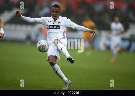 Swansea, Wales, UK, 11 Aug 2018. Martin Olsson of Swansea city in action.EFL Skybet championship match, Swansea city v Preston North End at the Liberty Stadium in Swansea, South Wales on Saturday 11th August 2018.  this image may only be used for Editorial purposes. Editorial use only, license required for commercial use. No use in betting, games or a single club/league/player publications. pic by Andrew Orchard/Andrew Orchard sports photography/Alamy Live news - Stock Photo