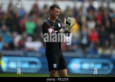 Swansea, Wales, UK, 11 Aug 2018. Declan Rudd, the Preston North End goalkeeper in action. EFL Skybet championship match, Swansea city v Preston North End at the Liberty Stadium in Swansea, South Wales on Saturday 11th August 2018.  this image may only be used for Editorial purposes. Editorial use only, license required for commercial use. No use in betting, games or a single club/league/player publications. pic by Andrew Orchard/Andrew Orchard sports photography/Alamy Live news - Stock Photo