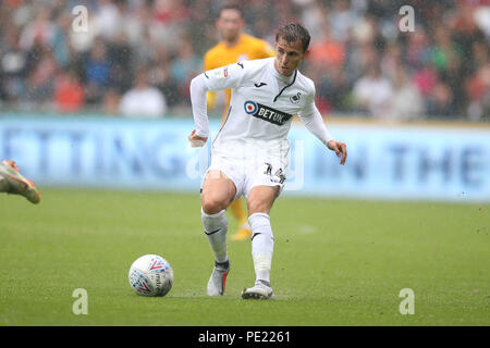 Swansea, Wales, UK, 11 Aug 2018. Tom Carroll of Swansea city in action.EFL Skybet championship match, Swansea city v Preston North End at the Liberty Stadium in Swansea, South Wales on Saturday 11th August 2018.  this image may only be used for Editorial purposes. Editorial use only, license required for commercial use. No use in betting, games or a single club/league/player publications. pic by Andrew Orchard/Andrew Orchard sports photography/Alamy Live news - Stock Photo