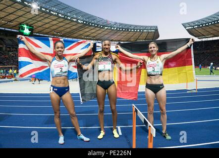Berlin, Deutschland. 10th Aug, 2018. left to right Katarina JOHNSON-THOMPSON (GBR/2nd place), winner Nafissatou THIAM l. (BEL/1st place), Carolin SCHAEFER (Schafer), Germany, 3rd place, final heptathlon 800m, on 10.08.2018 European Athletics Championships 2018 in Berlin/Germany from 06.08. - 12.08.2018. | usage worldwide Credit: dpa/Alamy Live News - Stock Photo