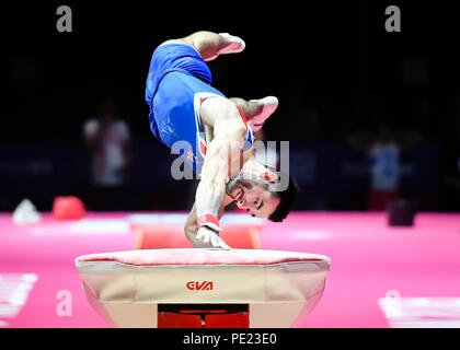 Scotland, UK. 11th August 2018. HALL James (GBR) competes on the Vault in Men's Artistic Gymnastics Team Finals during the European Championships Glasgow 2018 at The SSE Hydro on Saturday, 11  August 2018. GLASGOW SCOTLAND. Credit: Taka G Wu Credit: Taka Wu/Alamy Live News - Stock Photo