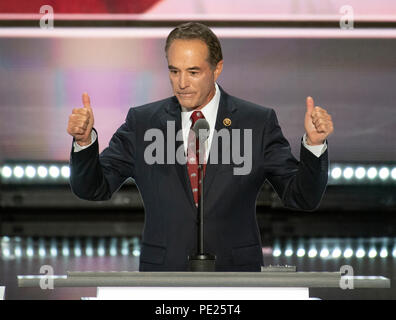 Cleveland, United States Of America. 19th July, 2016. United States Representative Chris Collins (Republican of New York) seconds the nomination of Donald Trump as the GOP nominee for President of the United States at the 2016 Republican National Convention held at the Quicken Loans Arena in Cleveland, Ohio on Tuesday, July 19, 2016. Credit: Ron Sachs/CNP (RESTRICTION: NO New York or New Jersey Newspapers or newspapers within a 75 mile radius of New York City) | usage worldwide Credit: dpa/Alamy Live News - Stock Photo